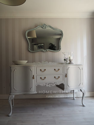Ornate French sideboard in grey gold handles