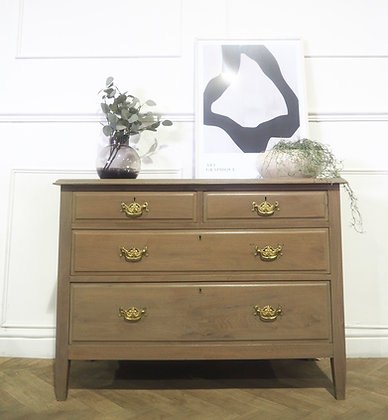 Vintage mahogany chest of drawers in light wood
