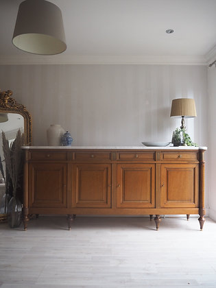 Large French antique Louis XVI Sideboard with White Marble Top