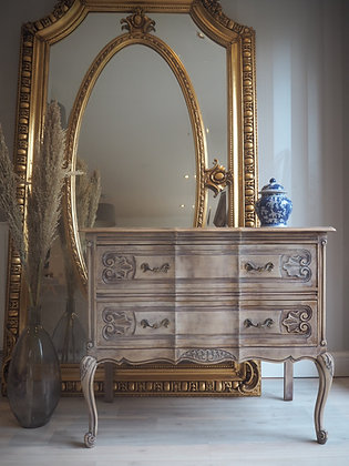 French Louis XV style carved drawers in limed oak white wash