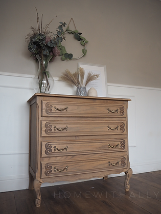 French louis xv style oak drawers in limed oak