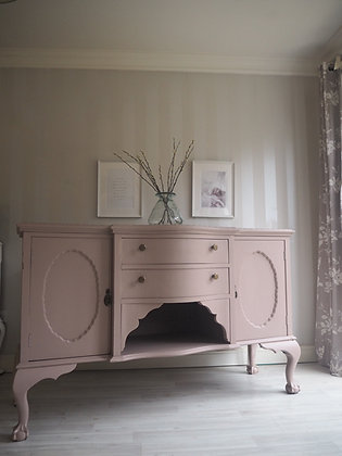 Pink bow fronted ball and claw sideboard