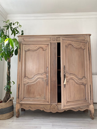 Large Antique French Armoire Linen Press Wardrobe Cupboard