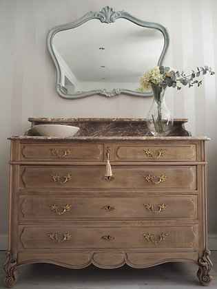 French Louis XV Antique Chest of Drawers in Limed Oak marble Top