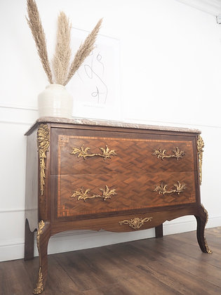 French Louis Chest of Drawers Commode Marble Top