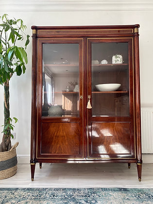 Large French Louis XVI Style Vintage Glass Cabinet