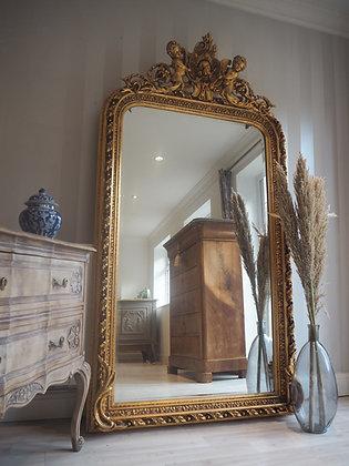 Large gilt gold framed antique french carved floor freestanding mirror