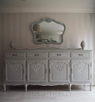Large solid Oak Louis XV French sideboard painted in grey and white