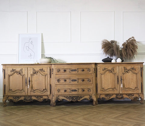 Extra Large Antique French Oak Sideboard in raw wood