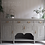 Thumbnail: Large antique sideboard painted grey / beige gold handles