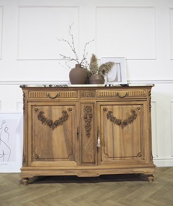 French antique washstand cabinet marble top raw wood