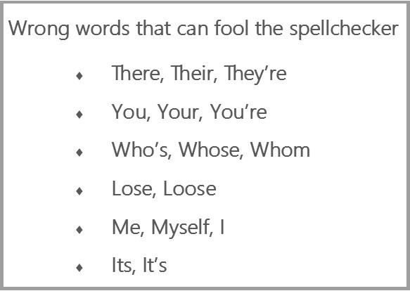 wrong words list