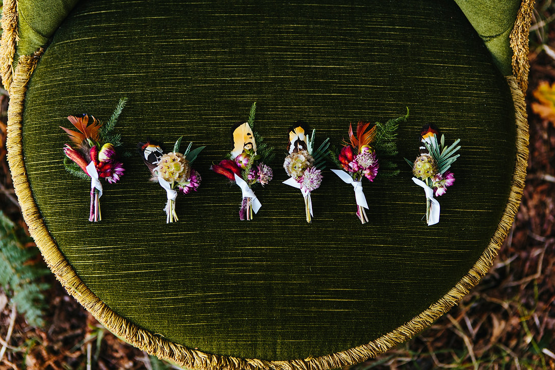 Sage & co floral design woodland boho buttonholes