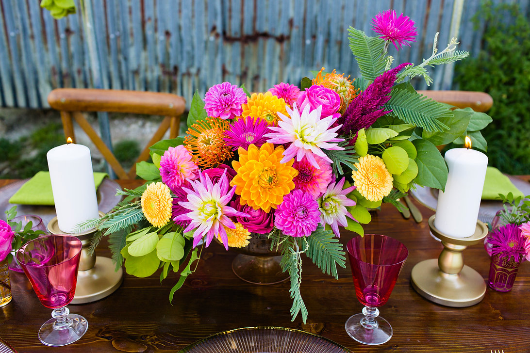 Sage & Co floral design colourful wedding table centre