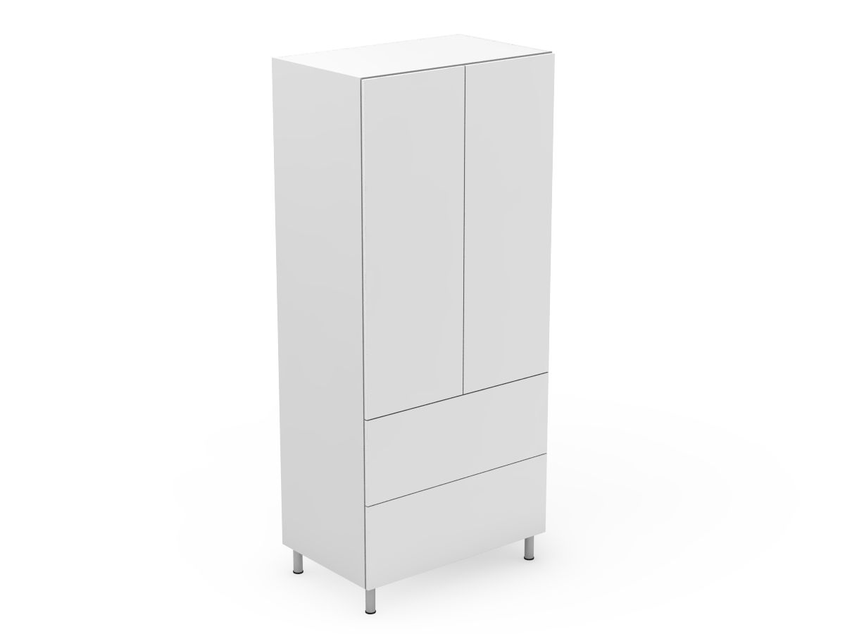 POLY DOORS - 2 DOOR PANTRY WITH 2 POT DRAWERS (P400-22PMB)