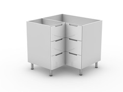 INTEGRATED HANDLE - 3 DRAWER CORNER CABINET (BC9003T)