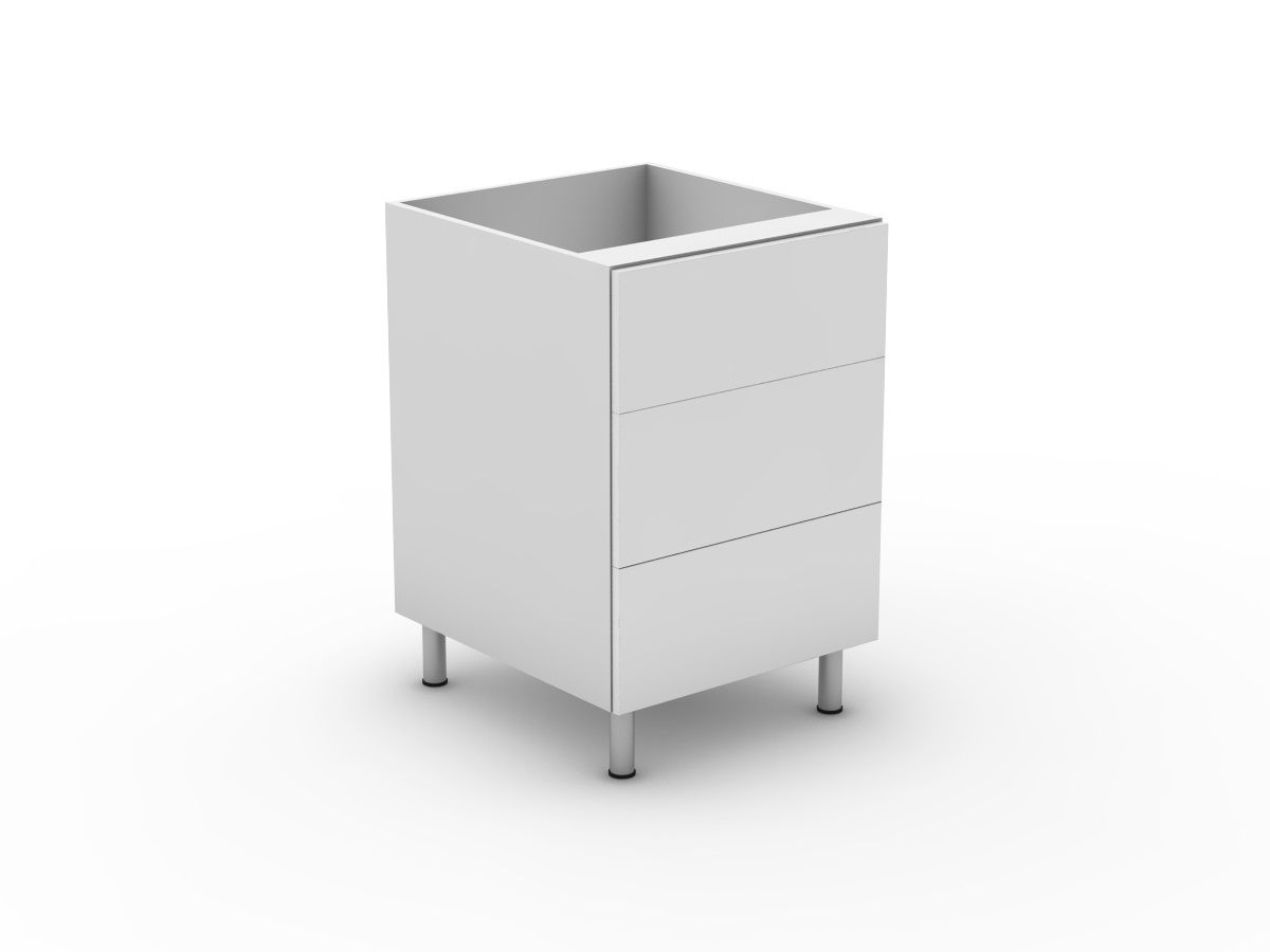 POLY DOORS - 3 DRAWERS - 1 MED + 2 POTS (B3001M2PMB)