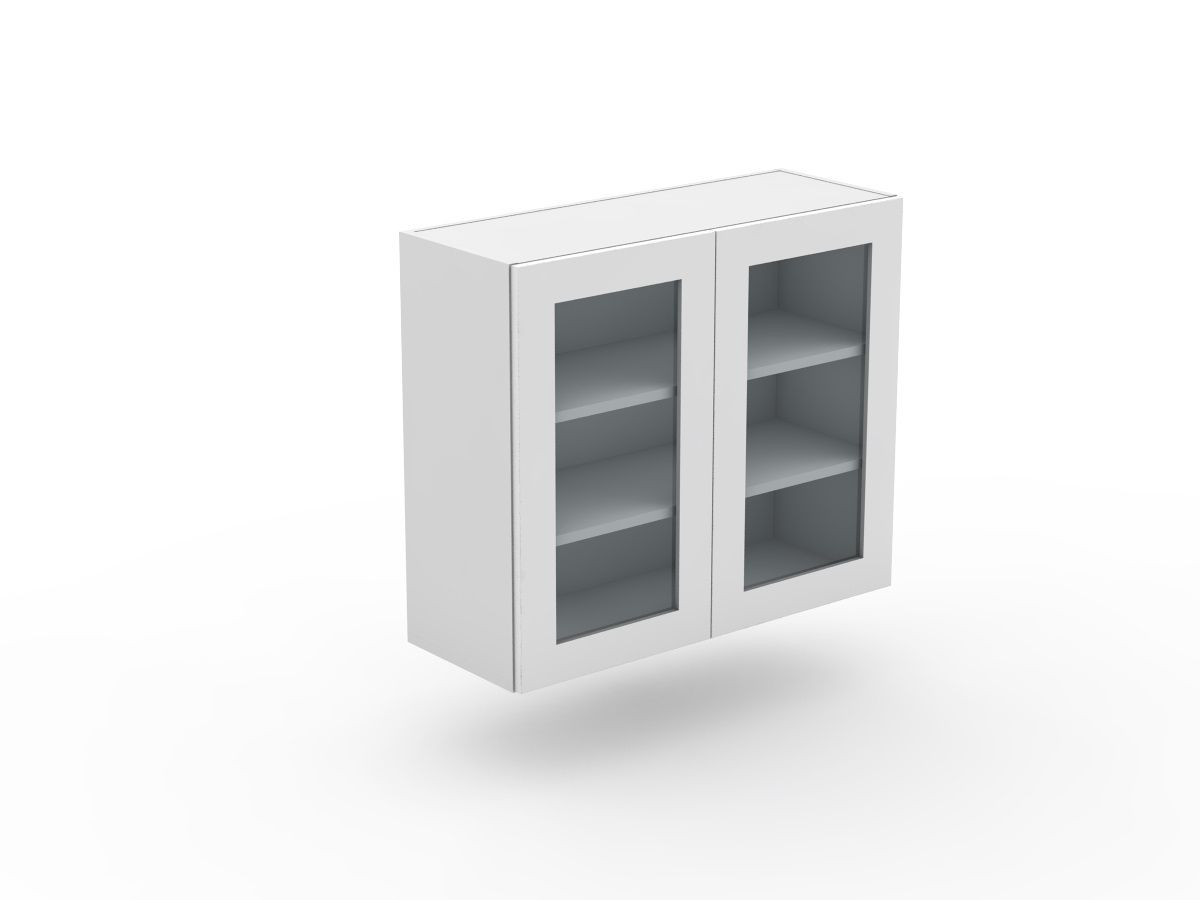 SHAKER - 2 DOOR TOP CABINET - GLASS INSERT (W600-2G)
