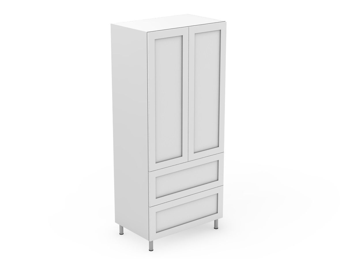 SHAKER - 2 DOOR PANTRY WITH 2 POT DRAWERS (P400-22PMB)