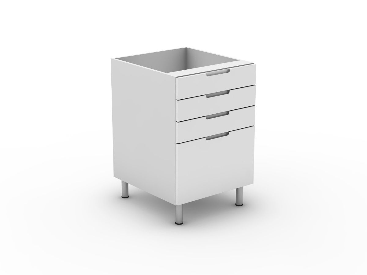 INTEGRATED HANDLE - 4 DRAWERS - 3 SMALL + 1 POT (B3003S1PMB)