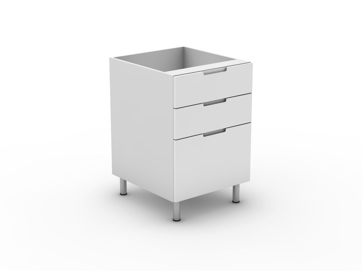 INTEGRATED HANDLE - 3 DRAWERS - 2 SMALL + 1 POT (B3002S1PMB)