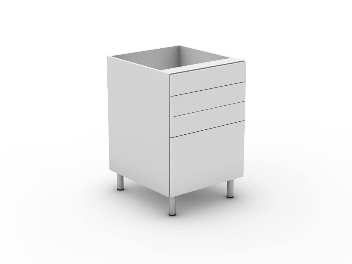 POLY DOORS -4 DRAWERS - 3 SMALL + 1 POT (B3003S1PMB)