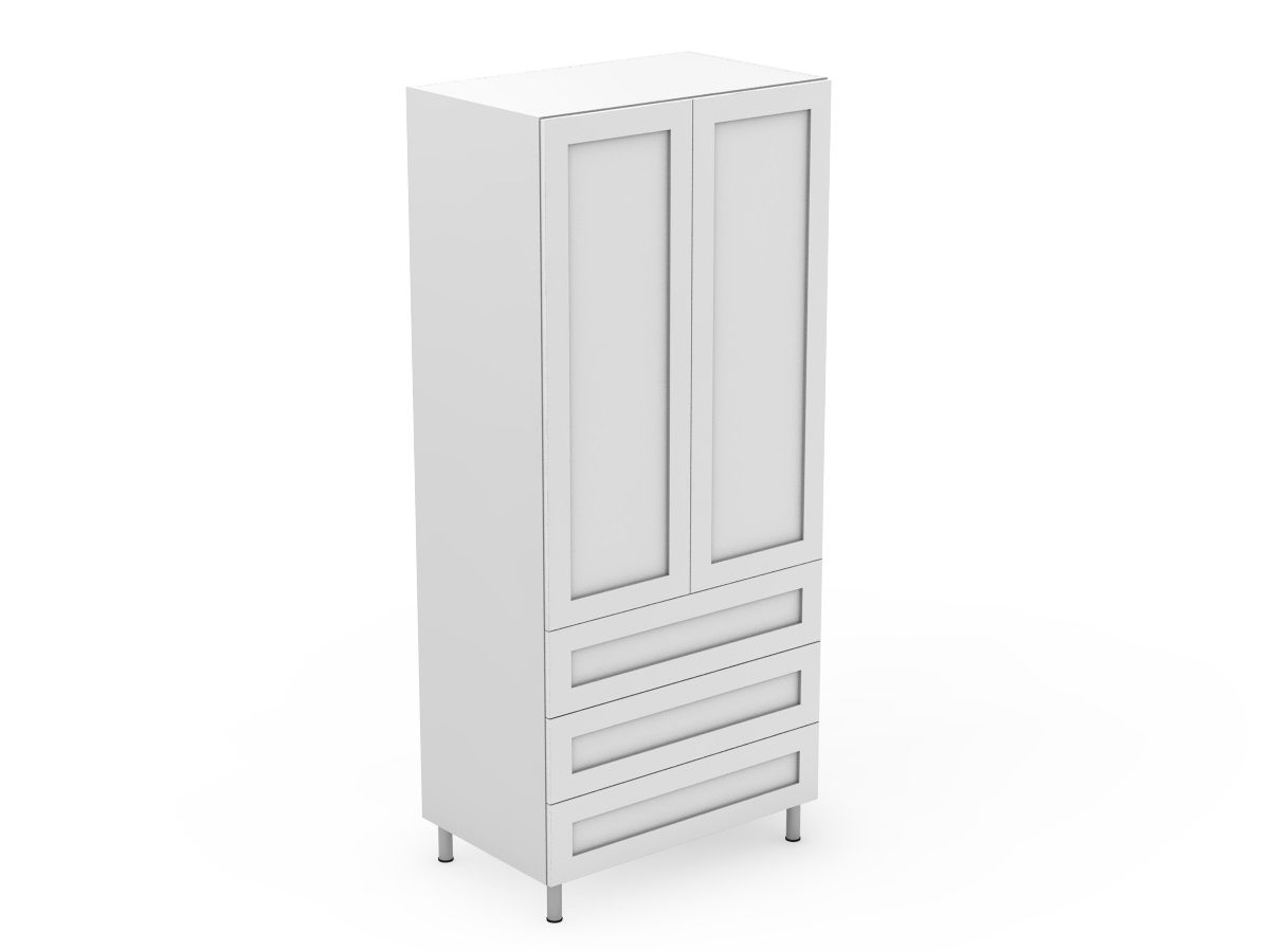 SHAKER - 2 DOOR PANTRY WITH 3 POT DRAWERS (AT600-RD3MB)