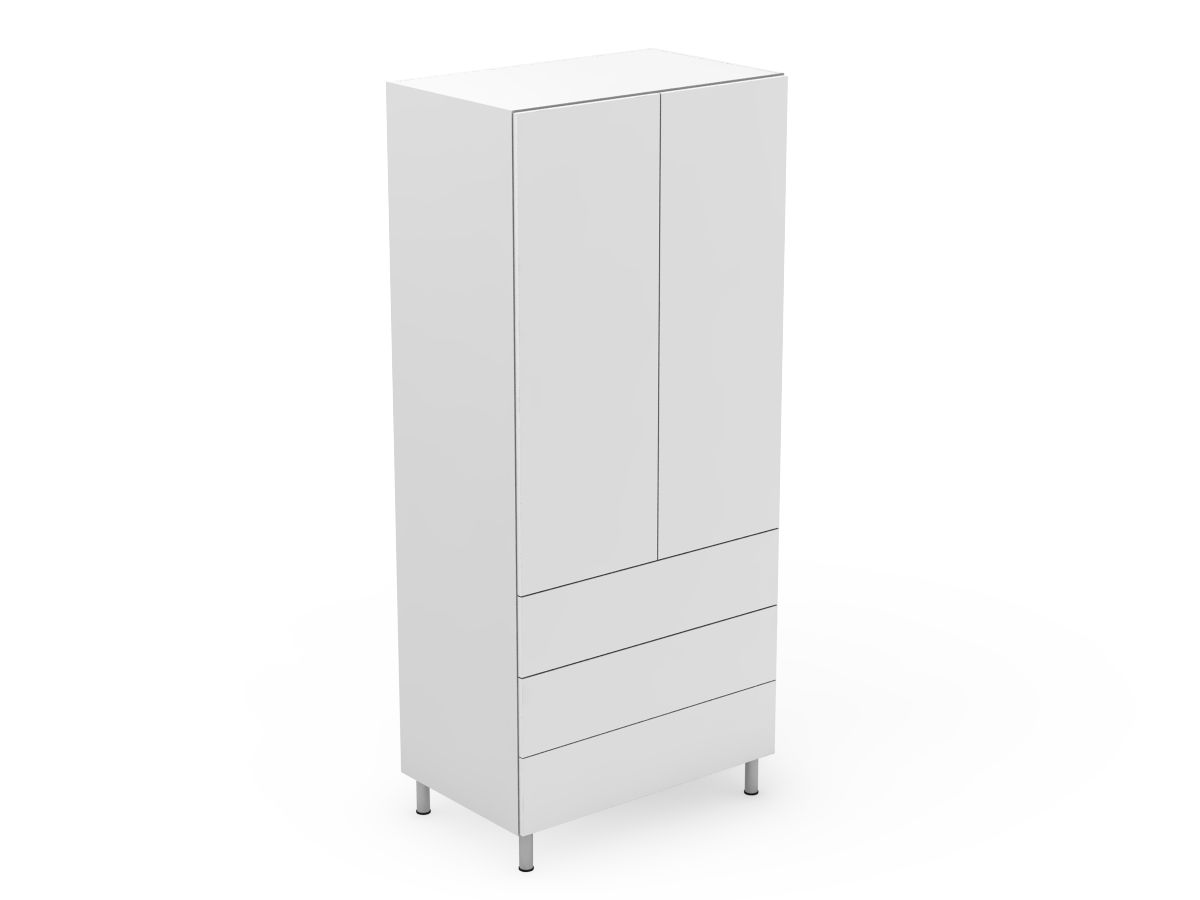 POLY DOORS - 2 DOOR PANTRY WITH 3 POT DRAWERS (AT600-RD3MB)