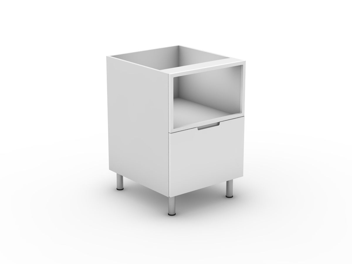 INTEGRATED HANDLE - MICROWAVE CABINET WITH POT DRAWER (B6001MWMB)