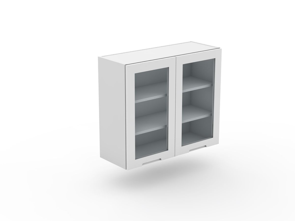 INTEGRATED HANDLE - 2 DOOR TOP CABINET - GLASS INSERT (W600-2G)