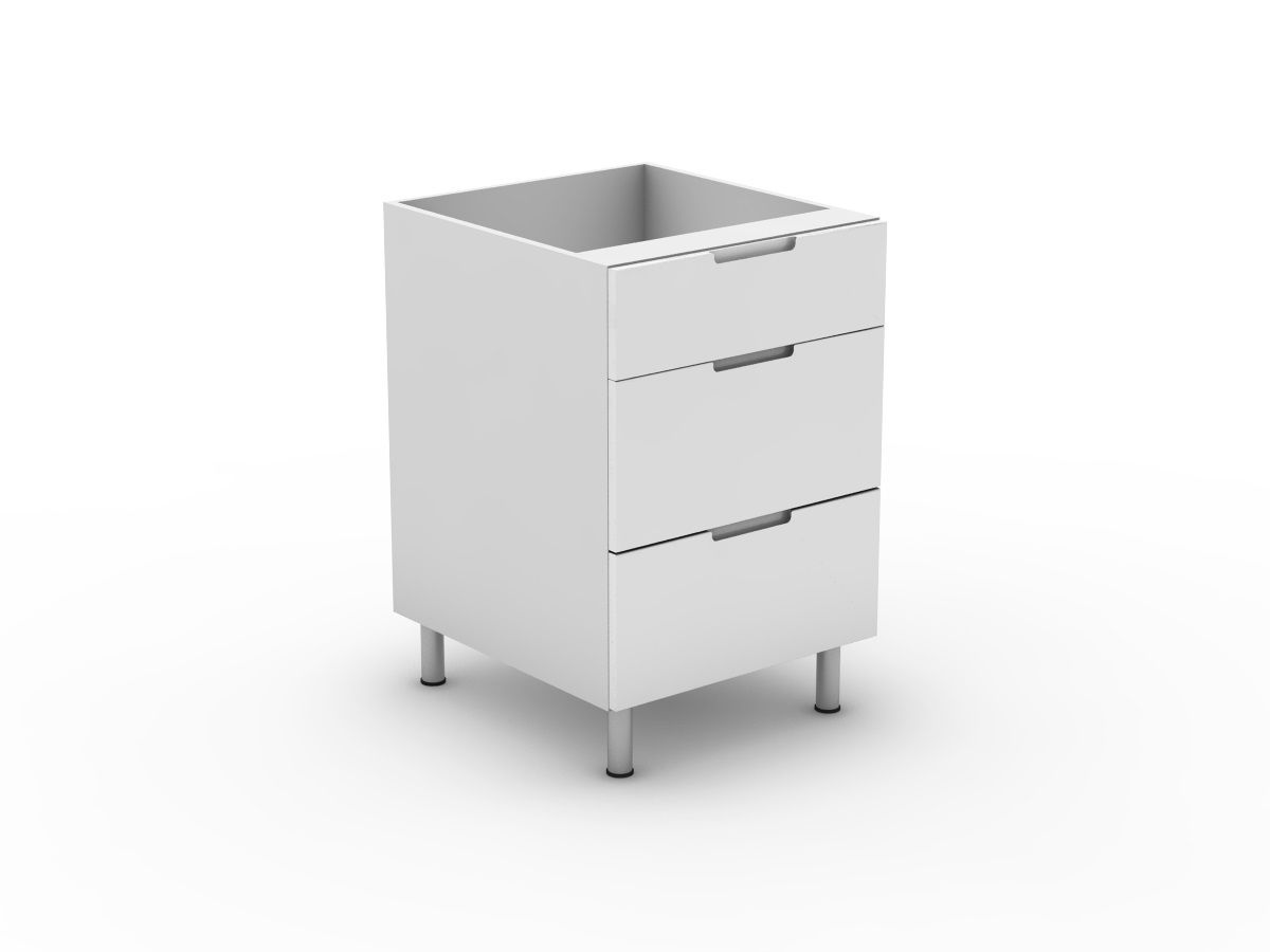 INTEGRATED HANDLE - 3 DRAWERS - 1 SMALL + 2 POT (B3001S2PMB)