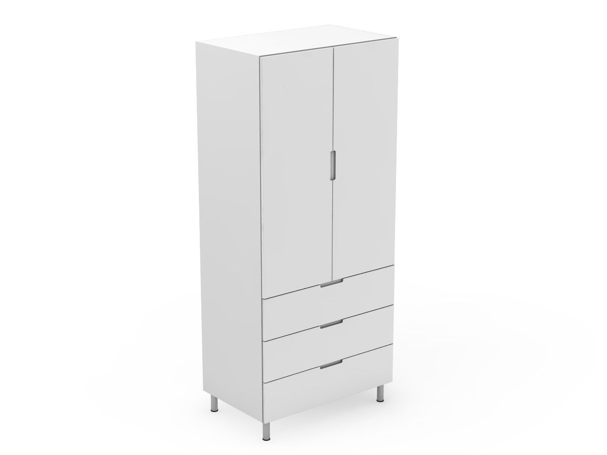 INTEGRATED HANDLE - 2 DOOR PANTRY WITH 3 POT DRAWERS (AT600-RD3MB)