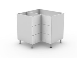 POLY DOORS - 3 DRAWER CORNER CABINET (BC9003T)