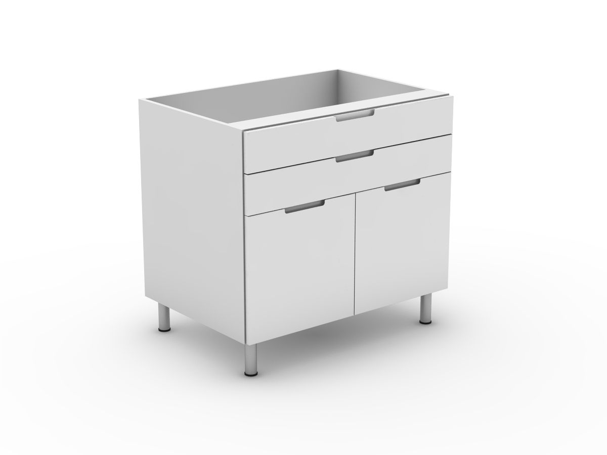 INTEGRATED HANDLE - 2 DRAWERS + 2 DOORS (B300-22MB)