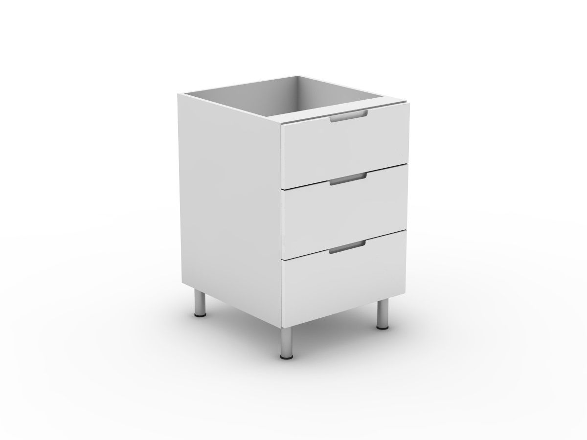 INTEGRATED HANDLE - 3 DRAWERS - 1 MED + 2 POTS (B3001M2PMB)