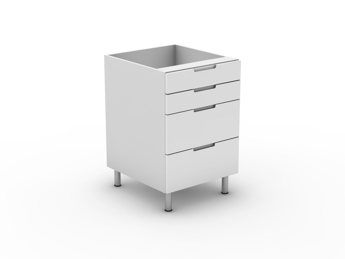 INTEGRATED HANDLE - 4 DRAWERS - 2 SMALL + 2 POT (B3002S2PMB)