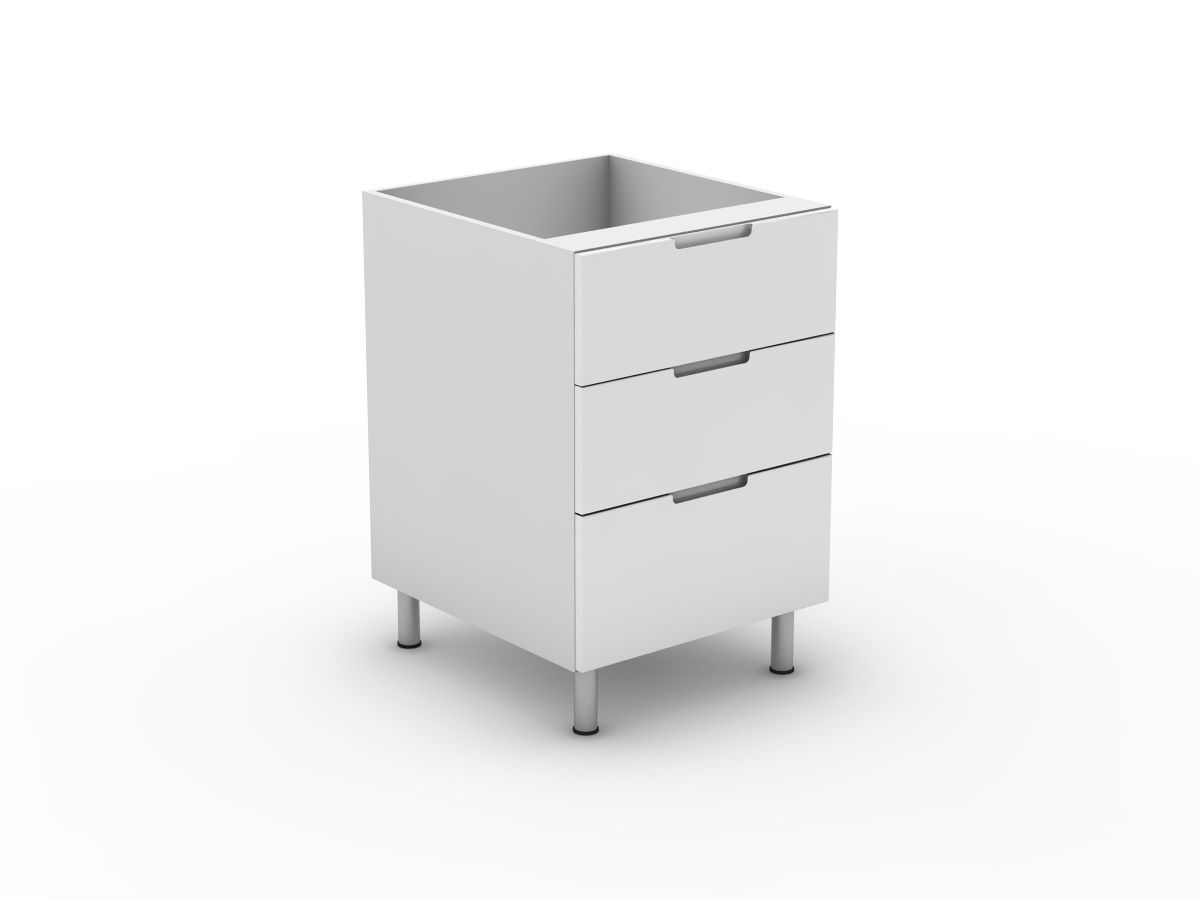 INTEGRATED HANDLE - 3 DRAWERS - 2 MEDIUM + 1 POT (B3002M1PMB)