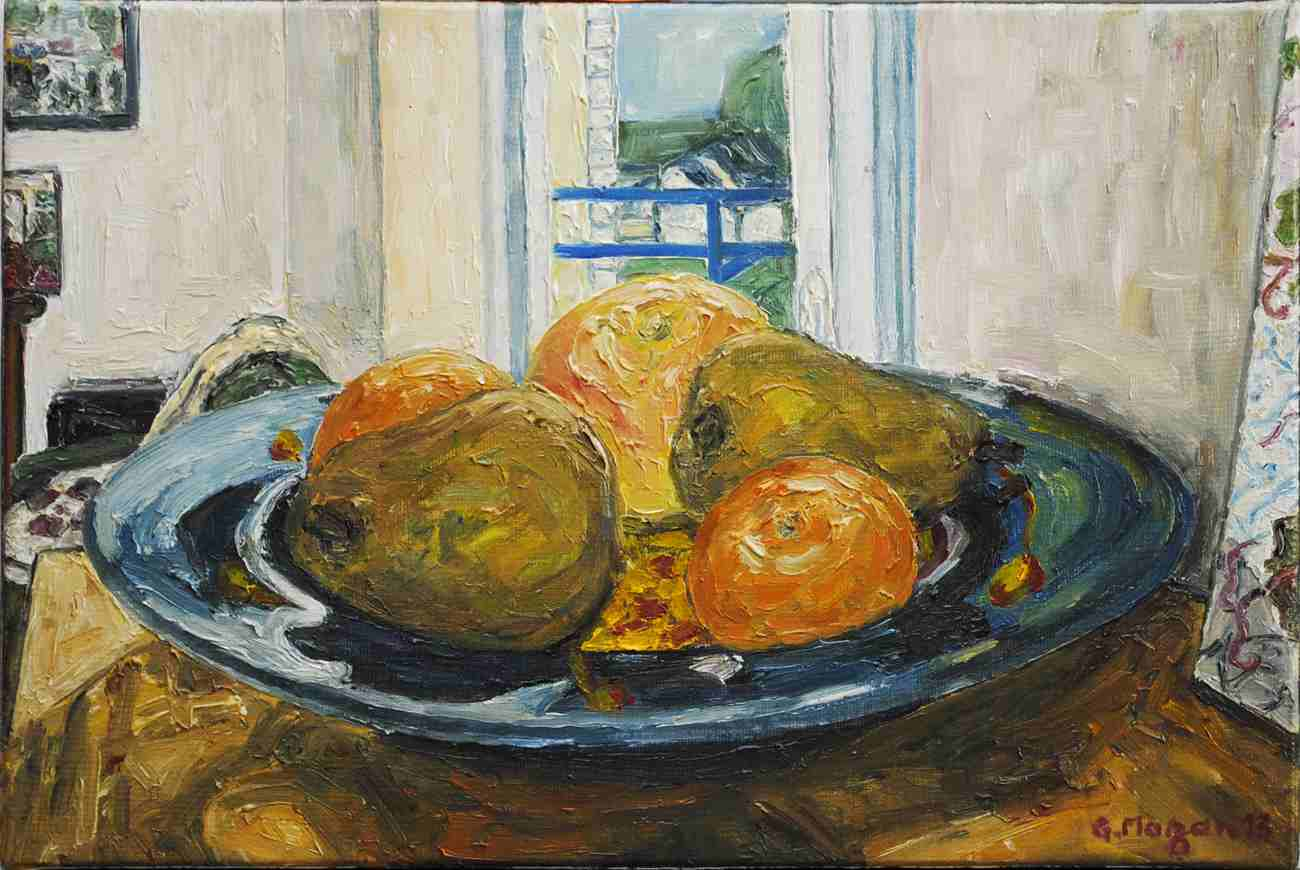 Assiette de verre bleu