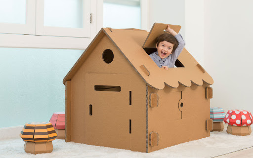 make a cardboard house for a kid's birthday