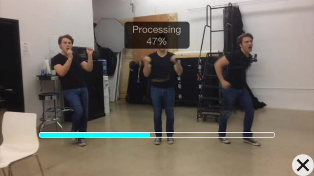 People dancing with a processing percentage