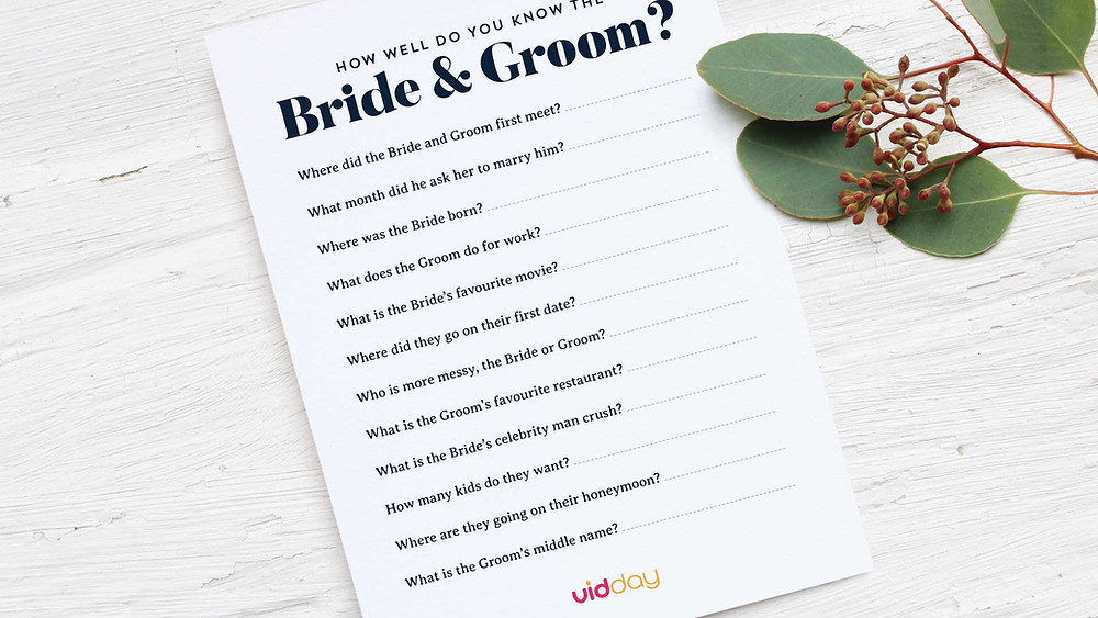 How well do you know the bride and groom game