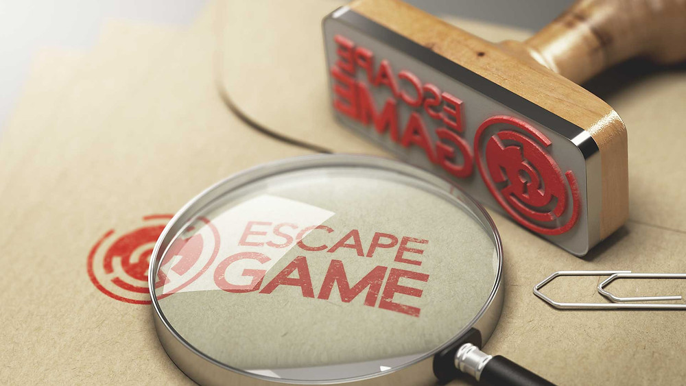 a stamp saying escape game