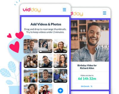 Send a group birthday video greeting with vidday.ay.