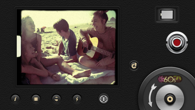 8mm vintage camera app with people singing on a beach