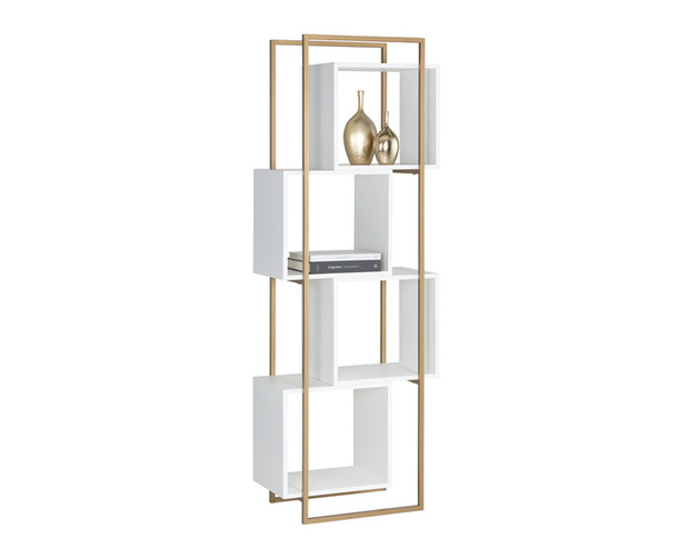JIGSAW BOOKCASE - WHITE/GOLD