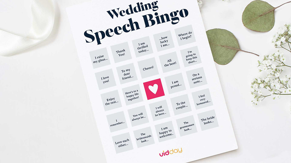 wedding speech bingo game