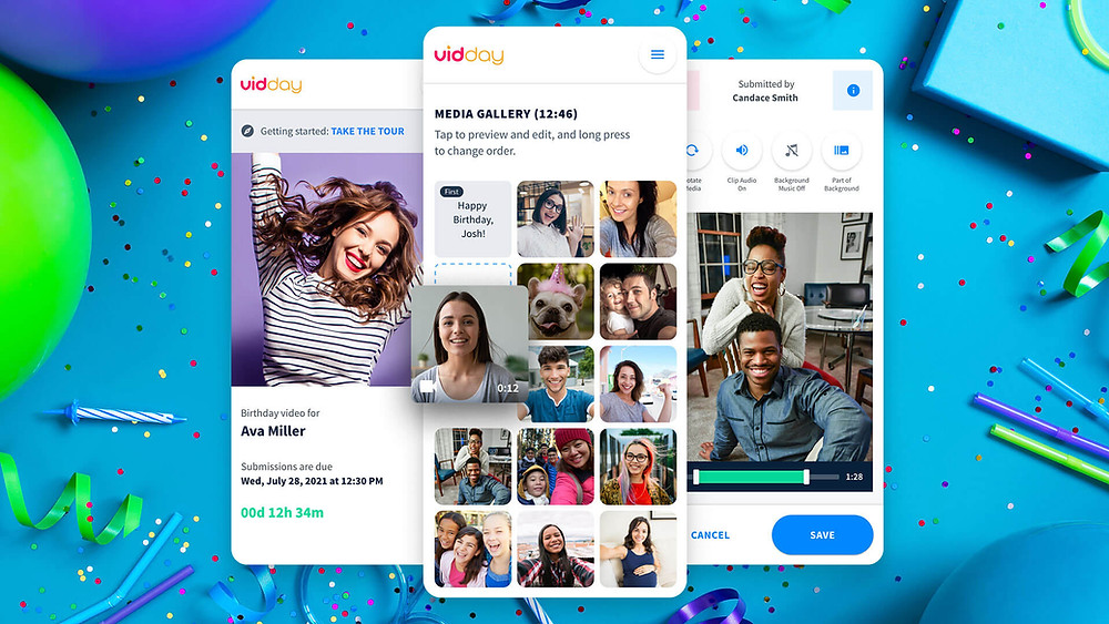 A look into the VidDay interface. You can see what the invitation messages look like and the media gallery where all the birthday messages are collected.
