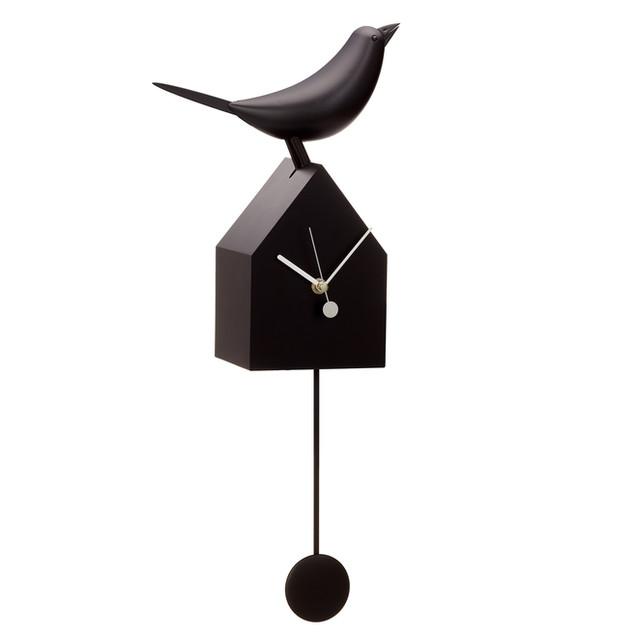 Bird House Clock Black