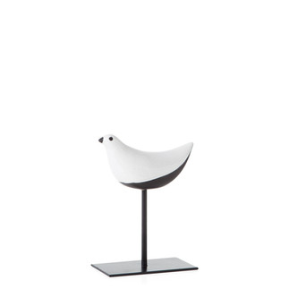 Finch Crackle Glaze Bird on stand - smal