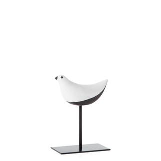 Finch Crackle Glaze Bird on stand - smal